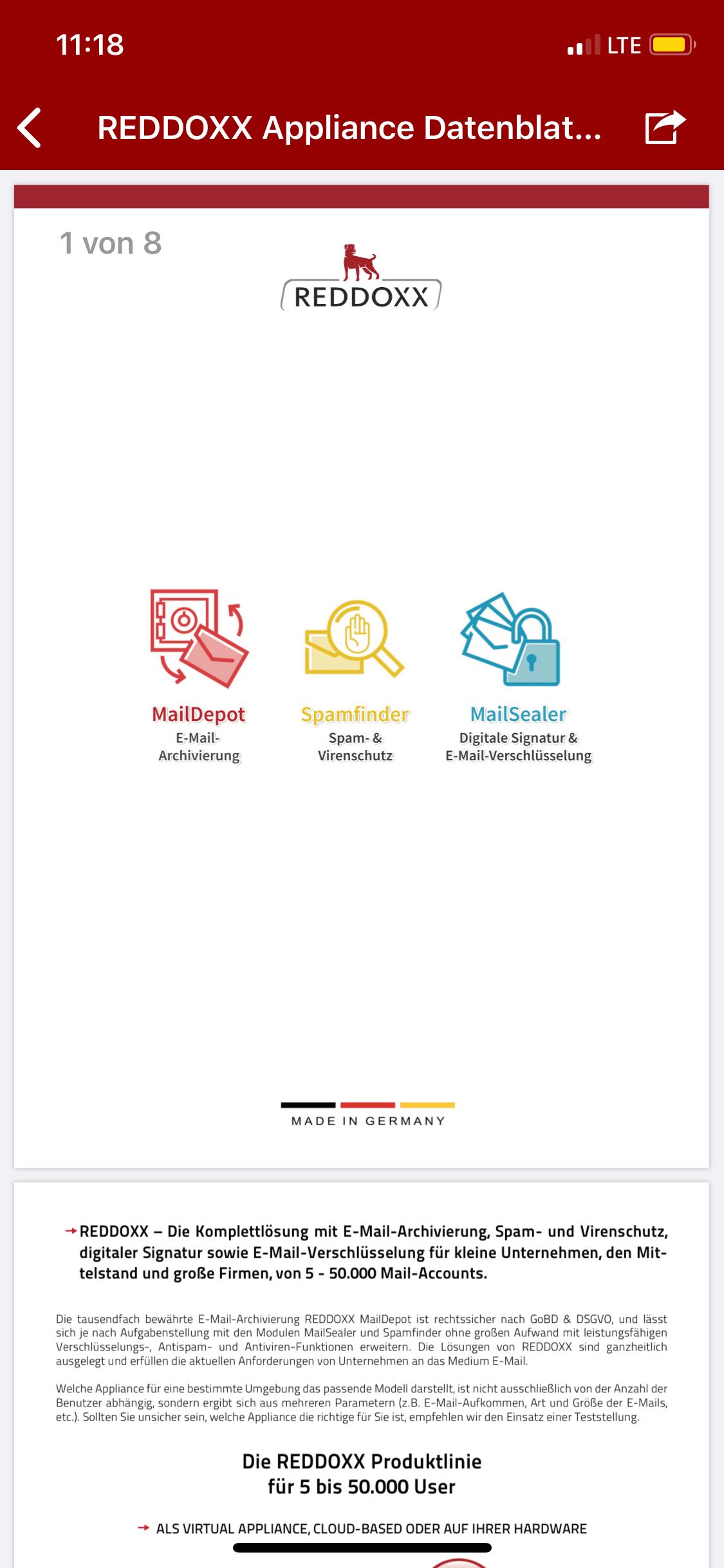 Auch in der REDDOXX Mobile App haben Sie Zugriff auf die Anhänge, die Sie per E-Mail erhalten und versendet haben