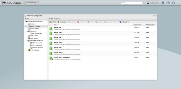 Die Archivcontainer können beliebig erzeugt und auf verschiedene Speicherorte verteilt werden