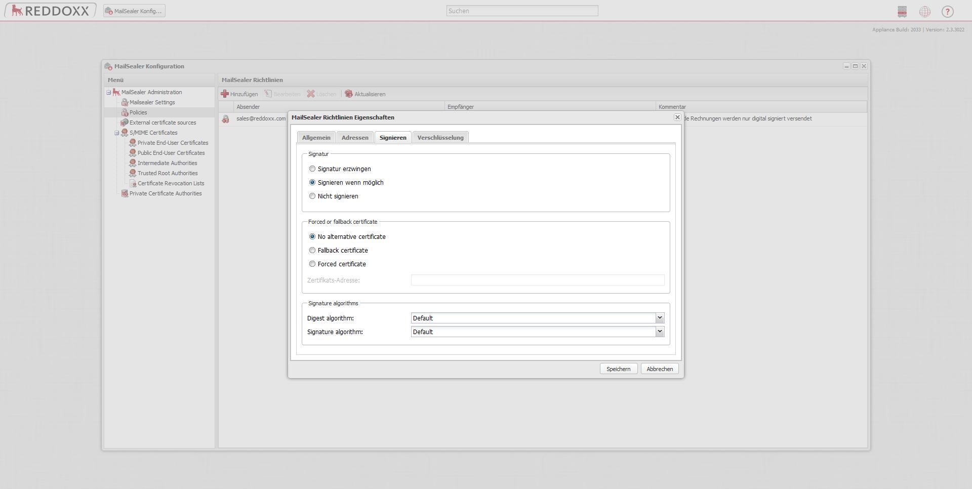 Die digitale Signatur soll in diesem Beispiel nur optional sein. Ist es möglich, soll die E-Mail digital signiert werden. Ist es nicht möglich, kann darauf verzichtet werden