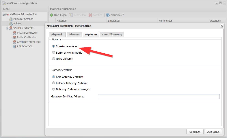 Digitale Signatur und E-Mailverschlüsselung konfigurieren - Signatur erzwingen