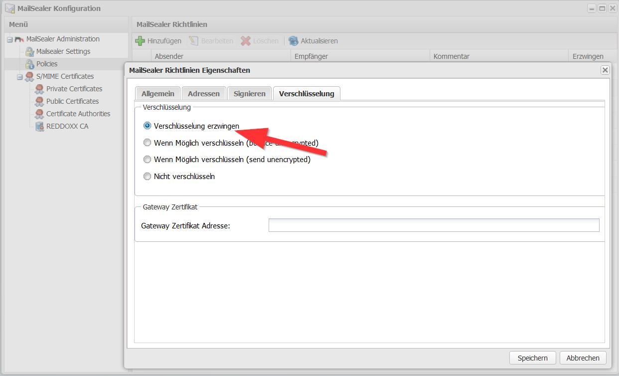 Digitale Signatur und E-Mailverschlüsselung konfigurieren - Verschlüsselung erzwingen