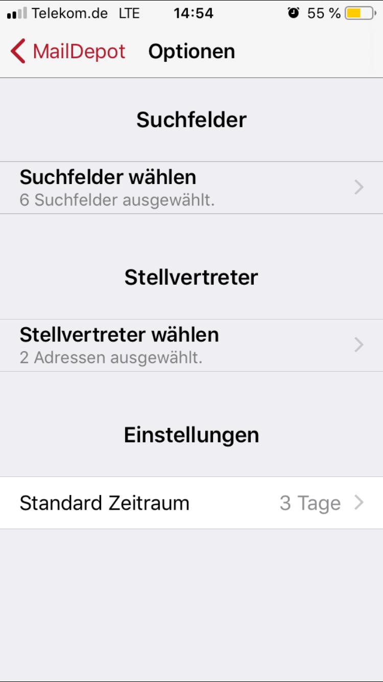 Einstellungen der Smartphone App für die Auswahl der Mailadressen, in denen der User suchen möchte