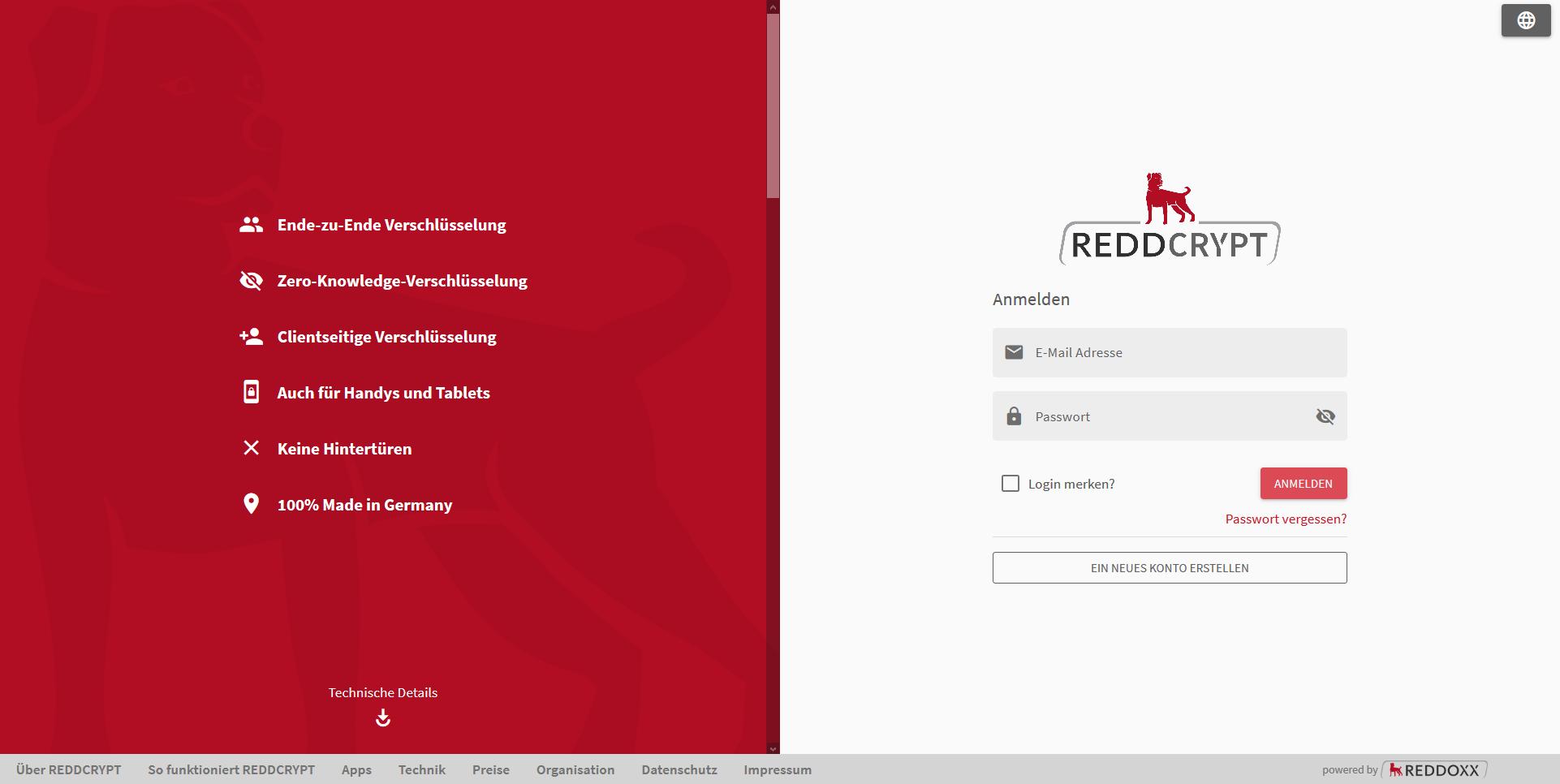 Kostenfreies REDDCRYPT Konto erstellen