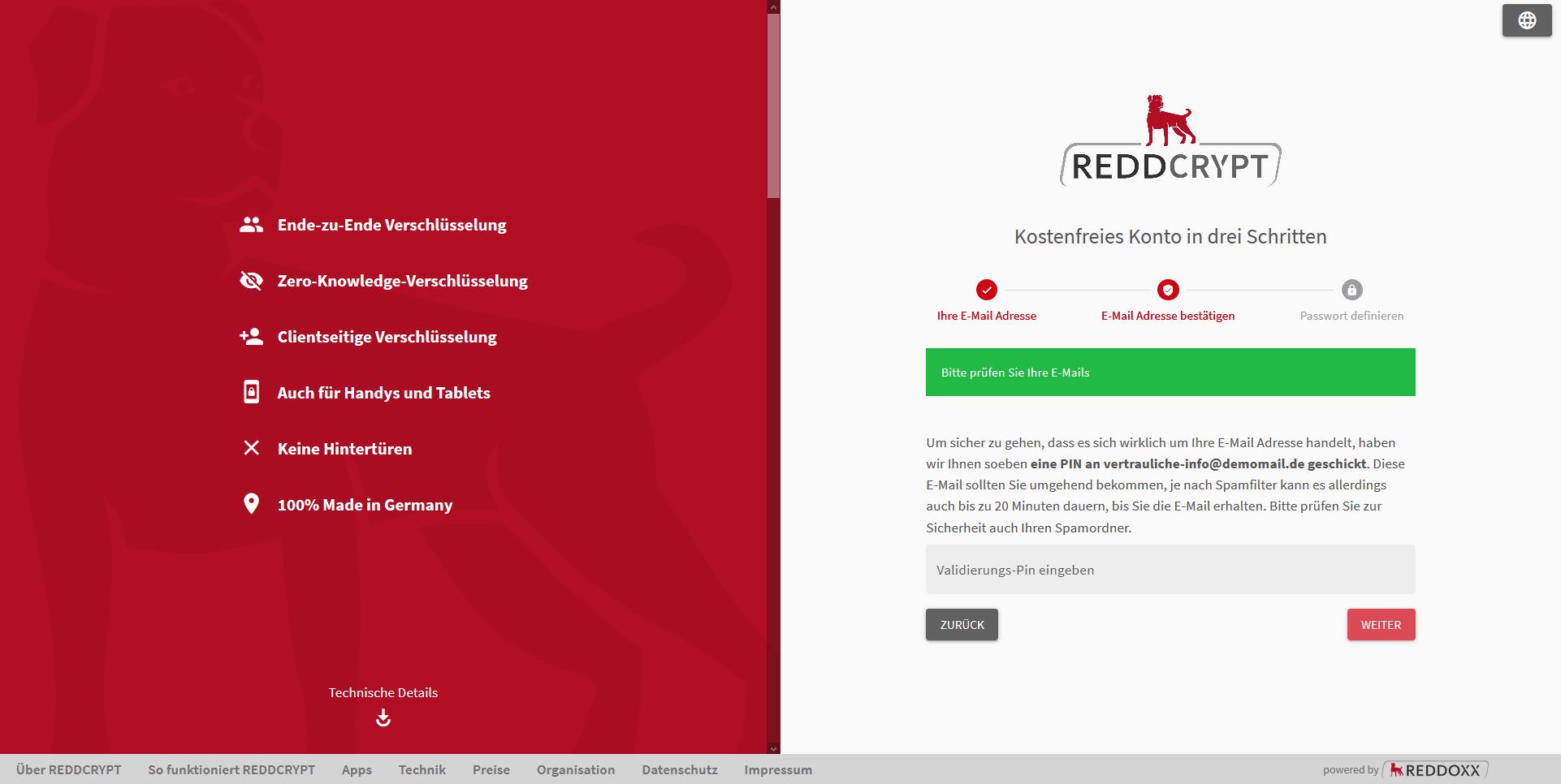 REDDCRYPT Konto mit Validierungspin bestätigen