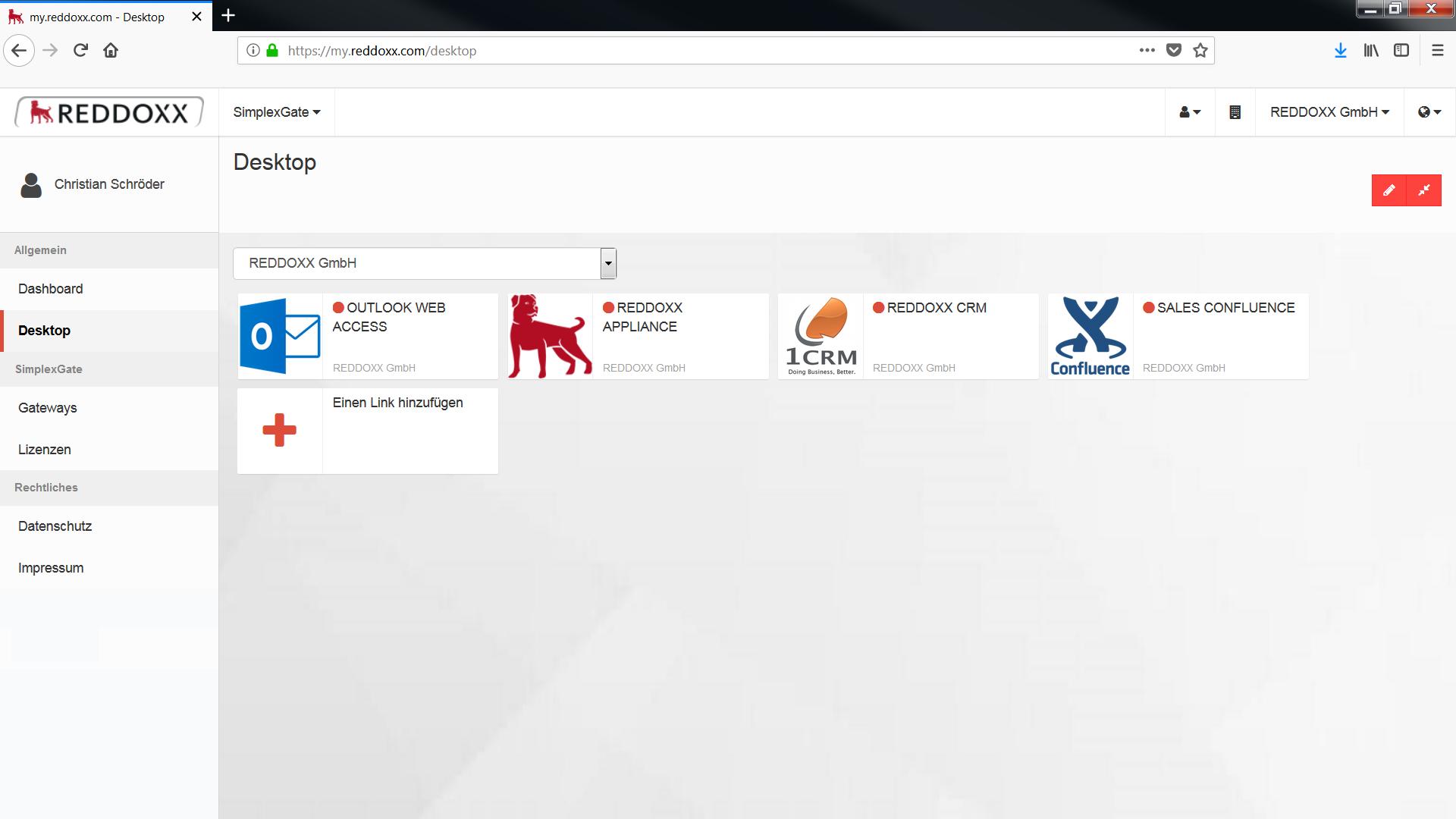 REDDOXX SimplexGate Desktop - Freigegebene Applikationen für den Mitarbeiter