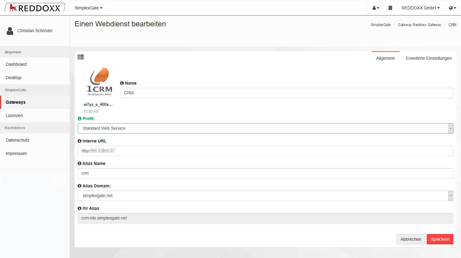 Das Einrichten vom Webservice ist innerhalb der SimplexGate Cloud in wenigen Steps umgesetzt