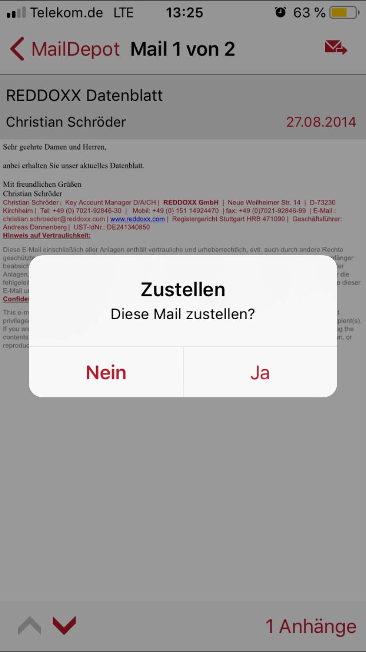 Aus der App heraus können Sie selbstverständlich die gesamte E-Mails inklusive aller Anhänge wiederherstellen